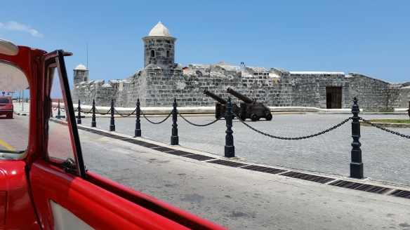 Cruising by the Castillo de San Salvador de la Punta.